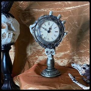 Skeleton Hand Gold Mantel Clock